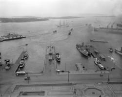 Oslo Havn: Honnørbrygga.I bakgrunnen skimtes Hovedøya, Lindø