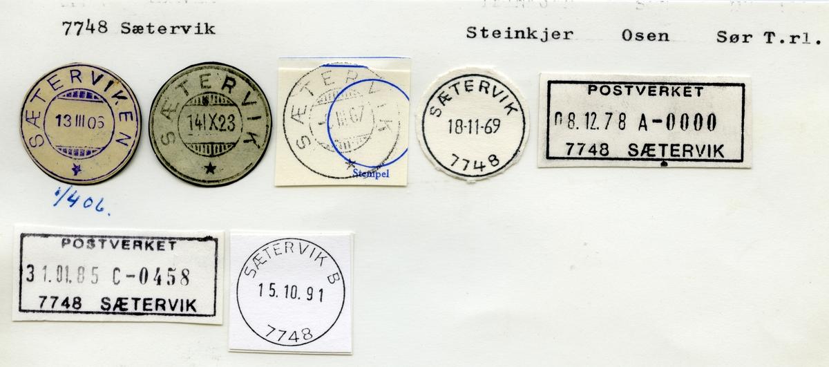 Stempelkatalog 7748 Sætervik, Osen kommune, Sør-Trøndelag
