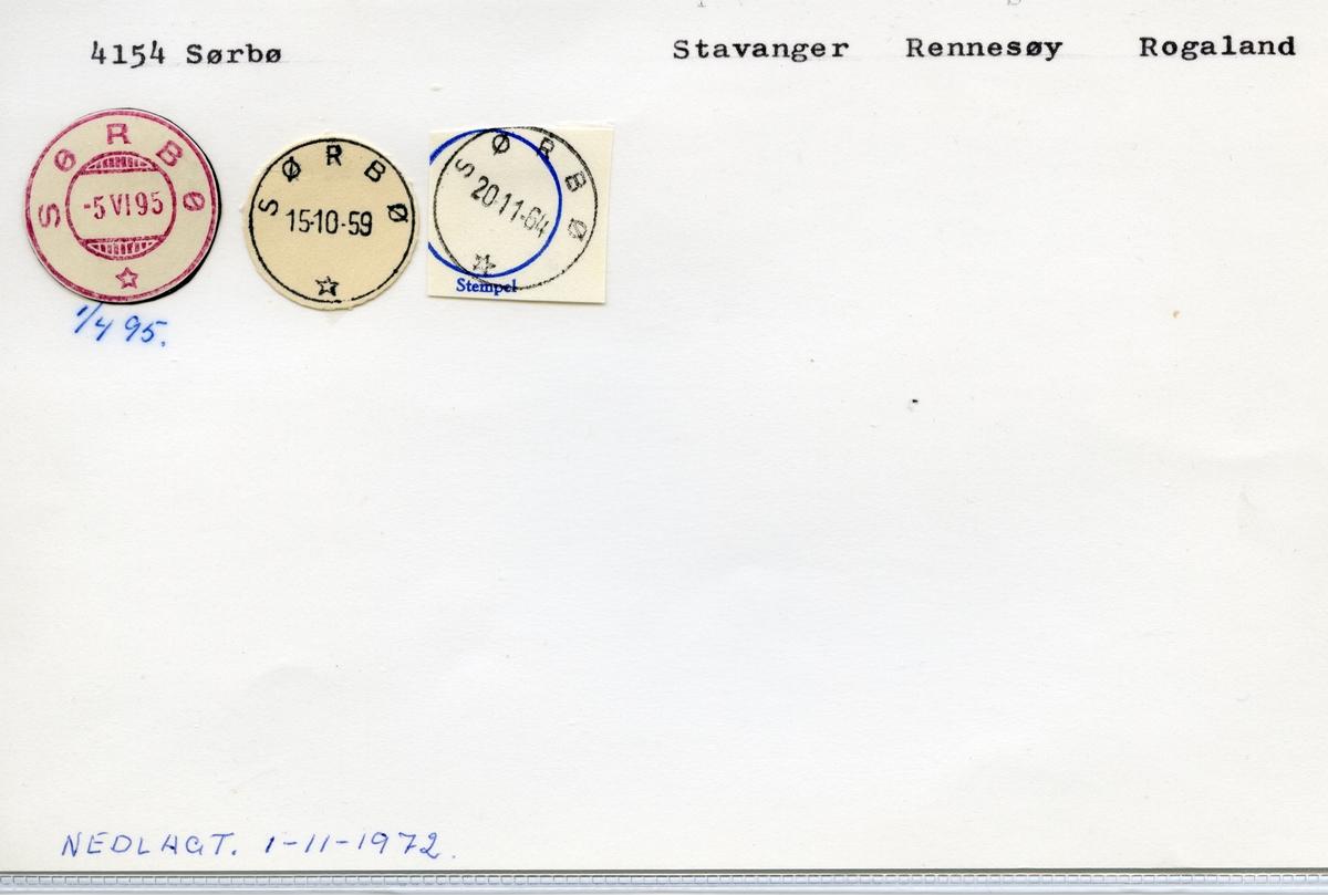 Stempelkatalog  4154 Sørbø, Rennesøy kommune, Rogaland