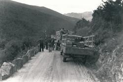 Biler og soldater som står langs med veien og ser framover.