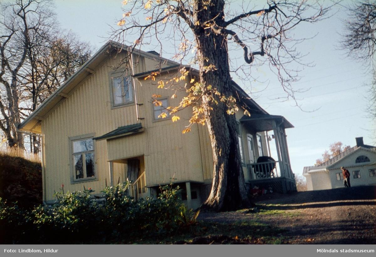 Vaktmästarbostaden, tidigare trädgårdsmästarbostaden, tillhörande Gunnebo slott. Mölndal, 1960-1970-tal. Fotografens far arbetade här. Till höger i bild skymtas del av slottets östra fasad.  För mer information om bilden se under tilläggsinformation.