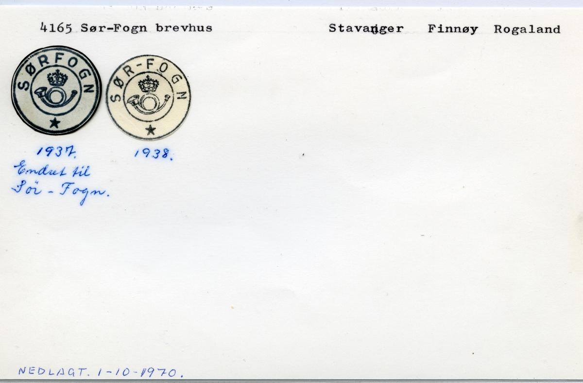 Stempelkatalog   4165 Sør-Fogn, Finnøy kommune, Rogaland