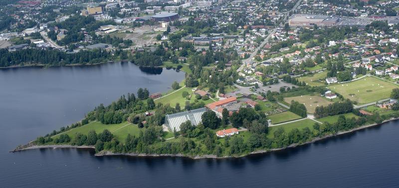Flyfoto som viser Domkirkeodden der den stikker ut i Mjøsa med sine bygninger (Foto/Photo)