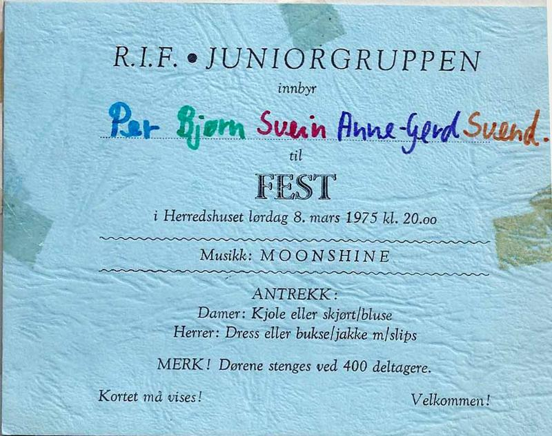 Invitasjonskort, fest på Rakkestad (Foto/Photo)