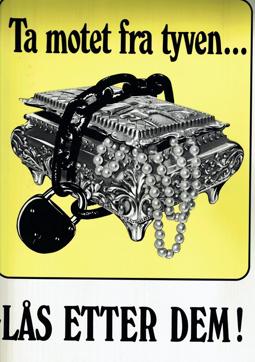 Plakat som oppfordrer folk å låse verdisaker