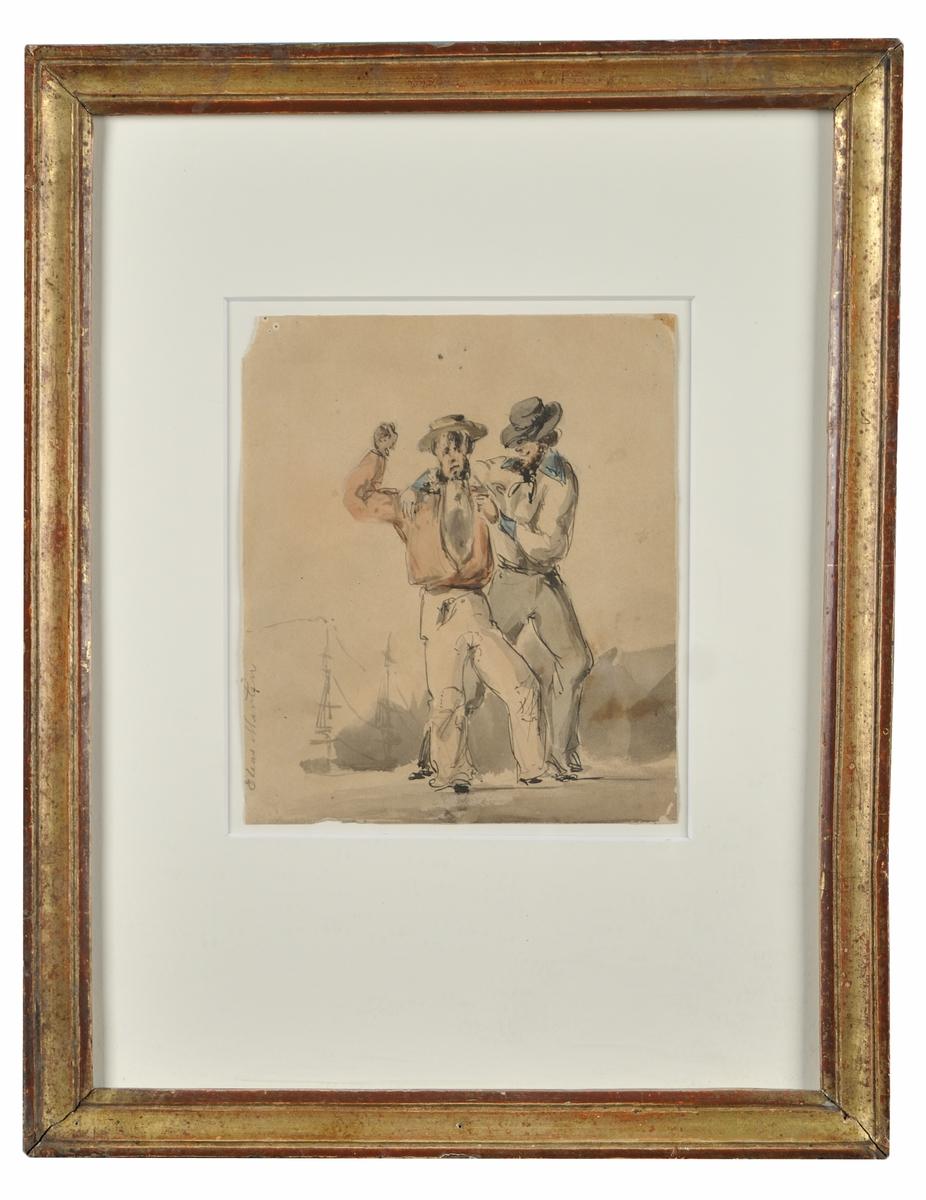 """Akvarell, """"Sjömän"""" av Elias Martin.  Bildne visar två sjömän, komma vandrande. (Kat.kort)  Montering/Ram: Förgylld originalram"""