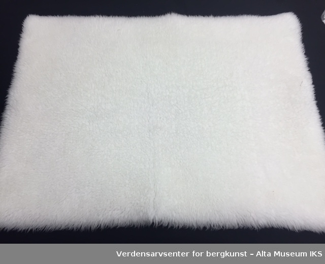 Tre stoffbiter i ullignende stoff som ser ut som bikinitruser, og et stort teppe/varmelaken i samme stoff. På den ene siden av stoffet ser det ut som ull og på den andre siden er det et vevd/strikket stoff.