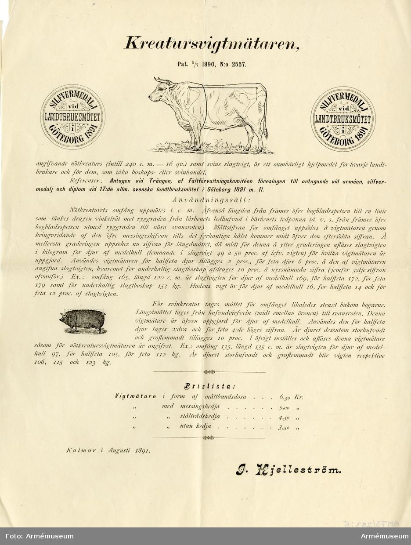 Grupp MV.  Dokument med instruktion till Kreaturs-vigtmätaren (Pat 5/7 1890, N:o 2557), Kalmar 1891.
