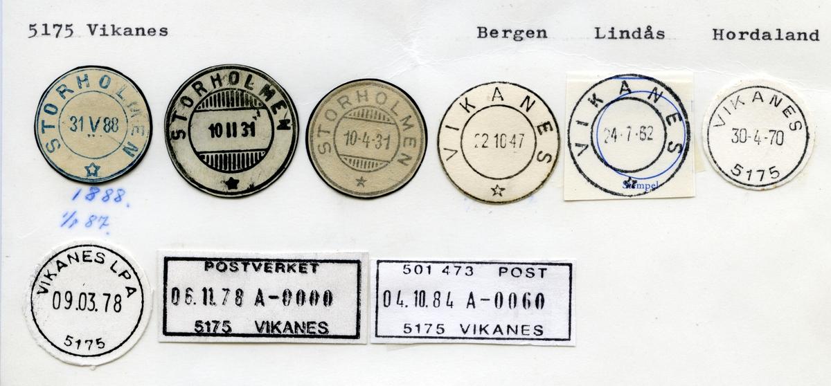 Stempelkatalog  5175 Vikanes, Lindås kommune, Hordaland (Storholmen )