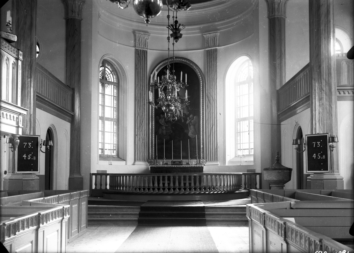 Nya kyrkan i Hamrånge före 1934, invigd år 1854, interiörbild.