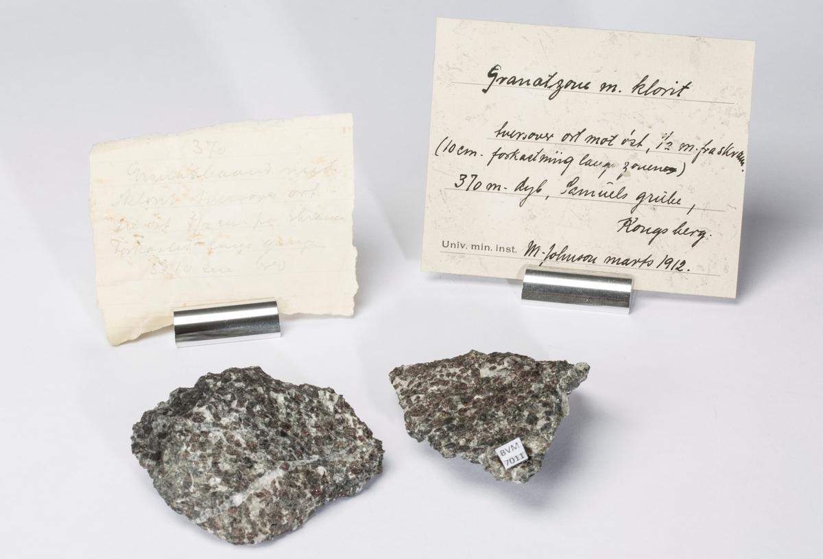 Etikett i eske: Granatzone m. klorit Tversover ort mot øst, ½ m. fra skram. (10 cm. forkastning langs zonen) 370 m. dyb. Samuels grube,  Kongsberg. M. Johnson marts 1912.  + papirlapp