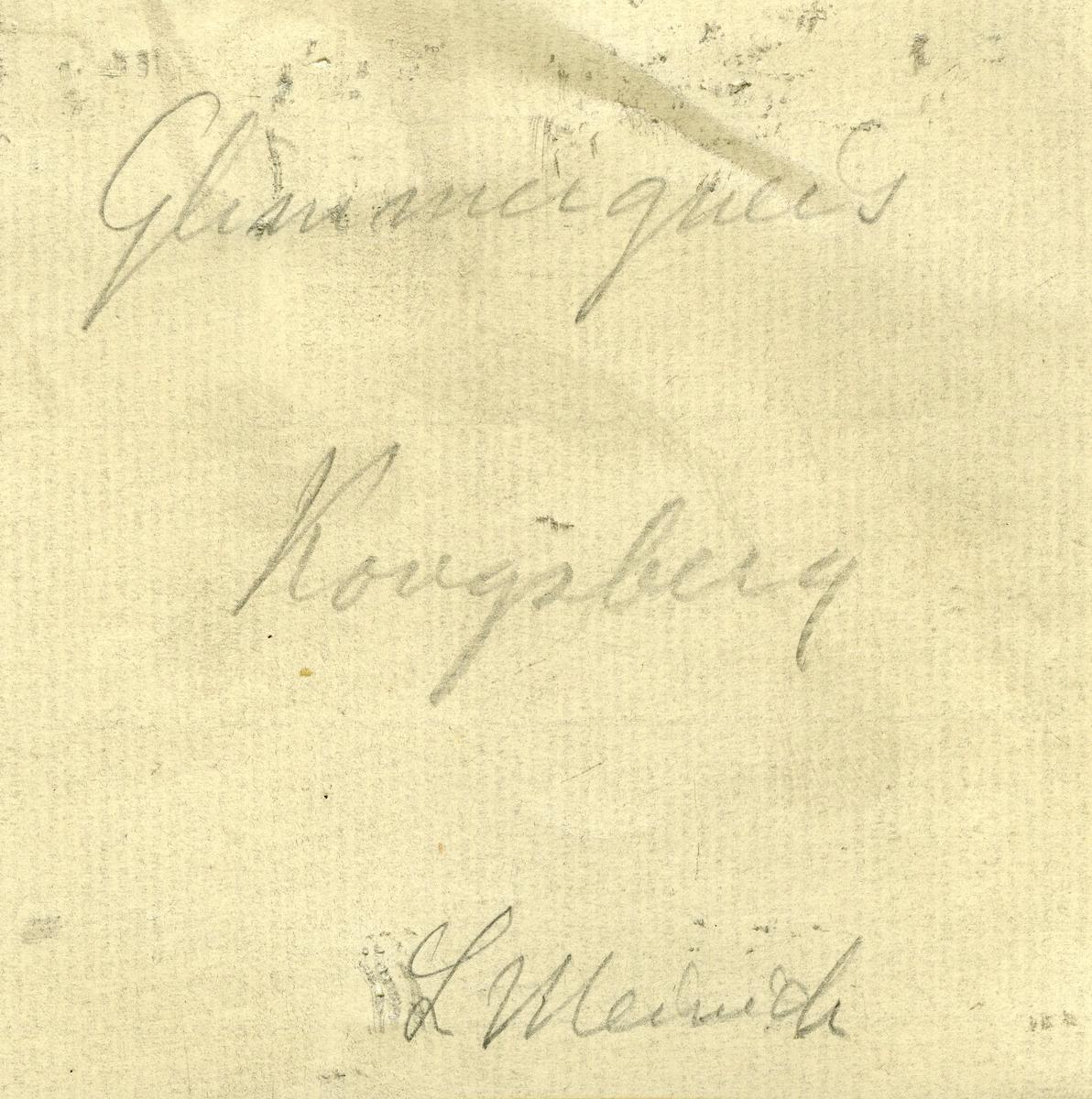 Etikett på prøve: 77. Etikett i eske:  Glimmergneis Kongsberg L Meinich