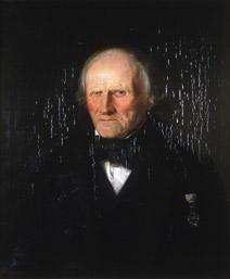 Portrett av Sørbrøden (Sørbrøn). mørk klesdrakt, en orden festet på brystet.