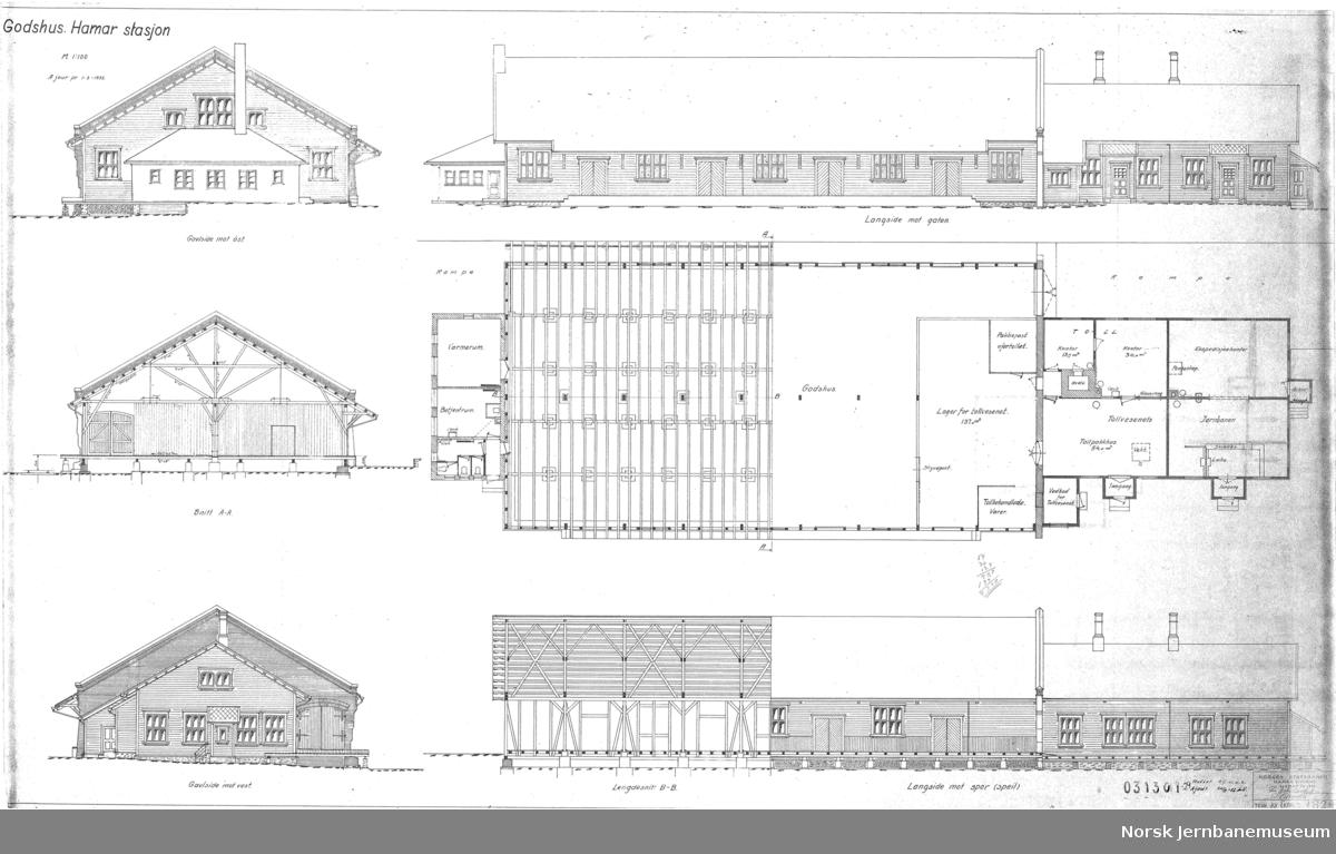 Godshus Hamar stasjon, fasade, plan, snitt
