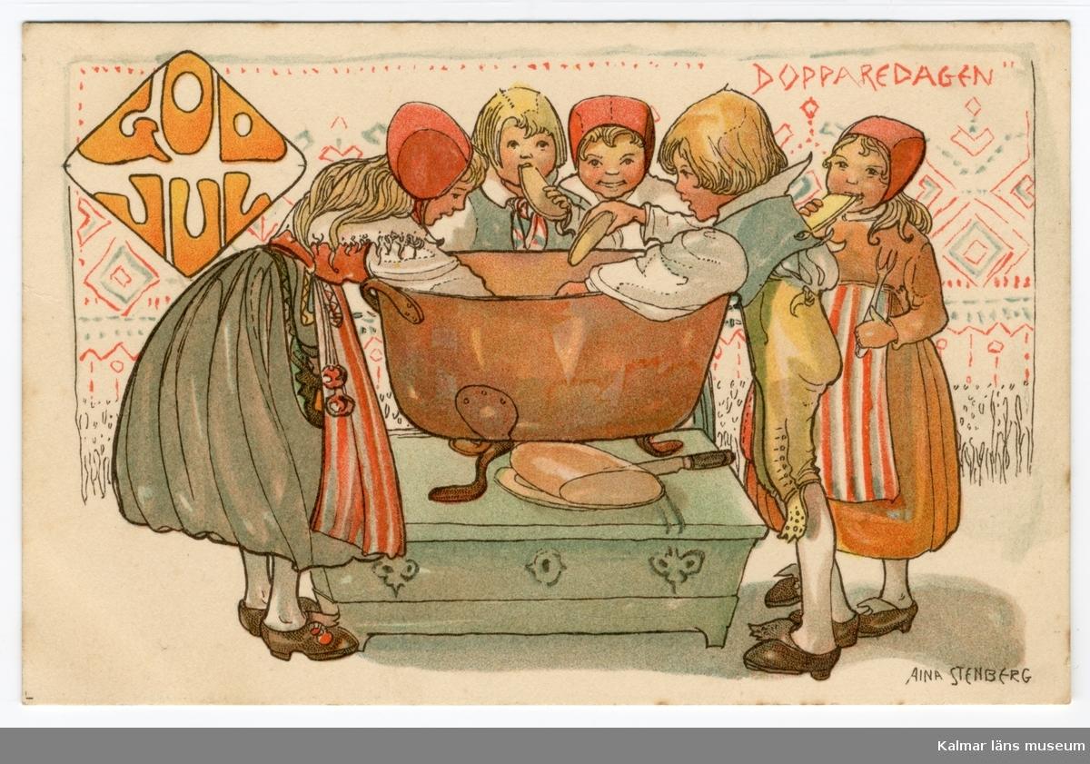Tre flickor och två pojkar iklädda folkdräkter står runt en stor koppargryta och doppar bröd. Uppe till höger står Dopparedagen med röda bokstäver.