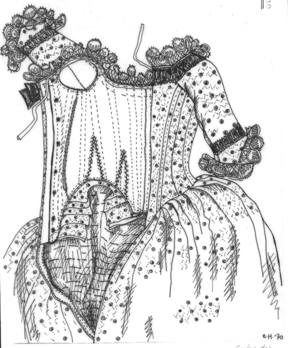 Tegning av pikekjolen til Magealena Elselena på Norsk Folkemuseum