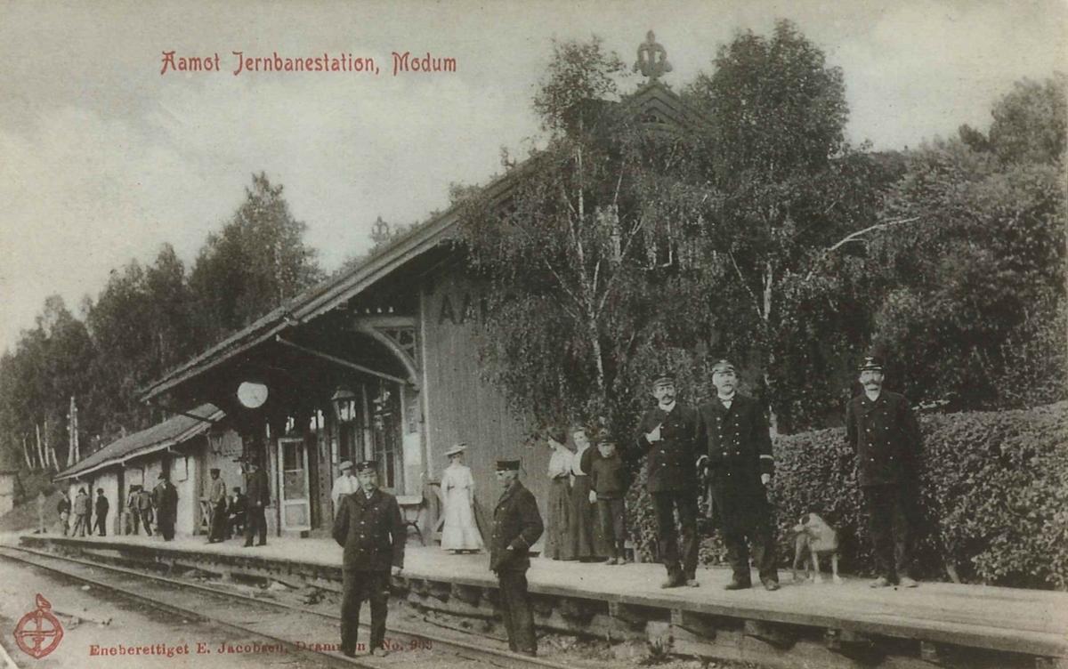 Personale og reisende på Åmot stasjon