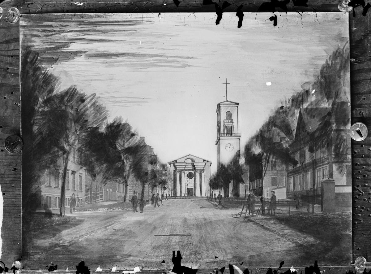 Trävaruhandlare Nybergs tavla. Ett förslag att bygga Staffanskyrkan på krönet av  Brynäsgatan.