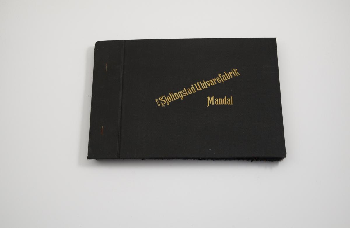 """Prøvebok med 6 prøver. Middels tykke stoff med diskret ruter. Vevemønsteret er det samme for alle stoffene i boken, men fargen varierer. Stoffene ligger brettet dobbelt i boken. Stoffene er merket med en rund papirlapp, festet til stoffet med metallstifter, hvor nummer er påført for hånd. Innskriften på innsiden av forsideomslaget viser at alle stoffene har kvaliteten """"Verken"""".   Stoff nr.: Verken/1, Verken/2, Verken/3, Verken/4, Verken/5, Verken/6."""