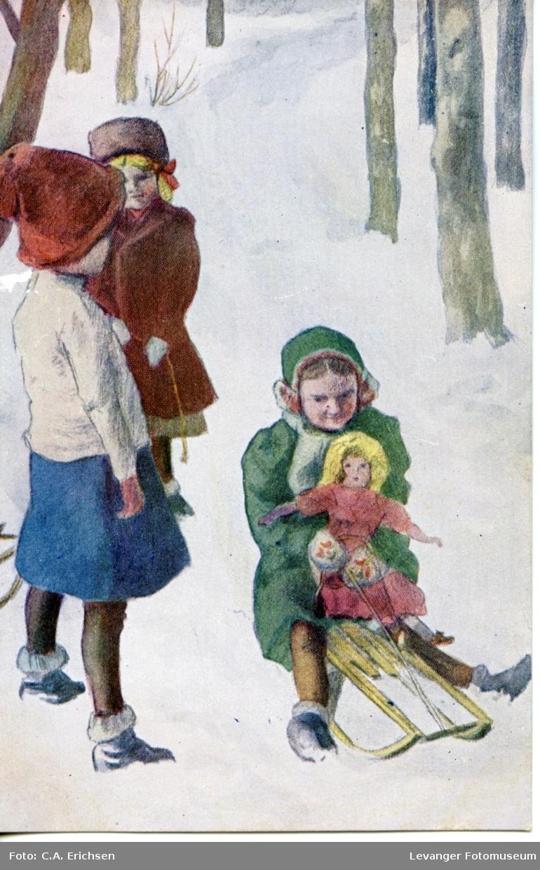 Postkort, jenter ute og leker med spark og dukke.