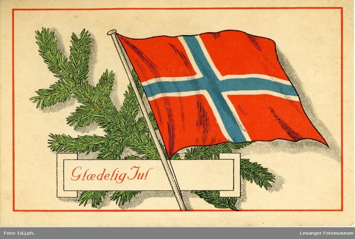 Postkort, julekort med det norske flagget, tekstet: Glædelig Jul.