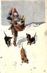 Postkort. Jule- og nyttårshilsen. Julenisse med kurv full av