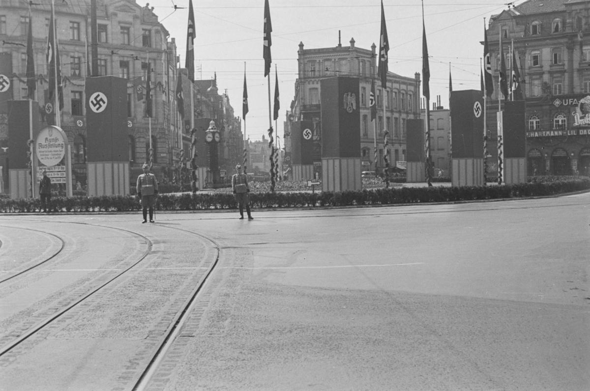 Markering av Nazi Gautag 9.-12. juni 1938. Fra Kröpcke i Hannover i Tyskland.