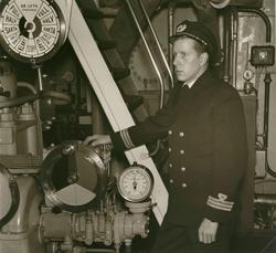 Maskinchef Nilving ombord på en av Öresundsbåtarna.