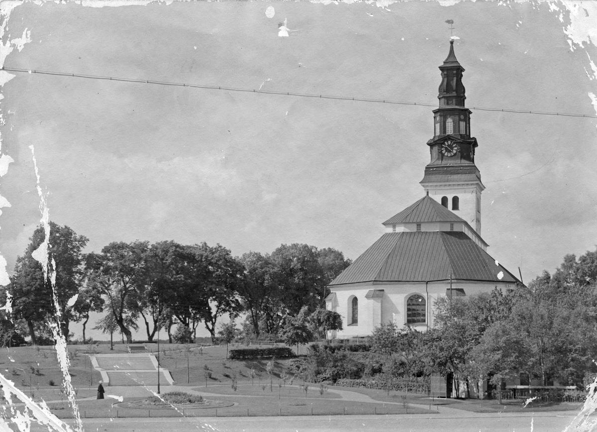 Köpings kyrka sedd från nuv Scheeleparken.