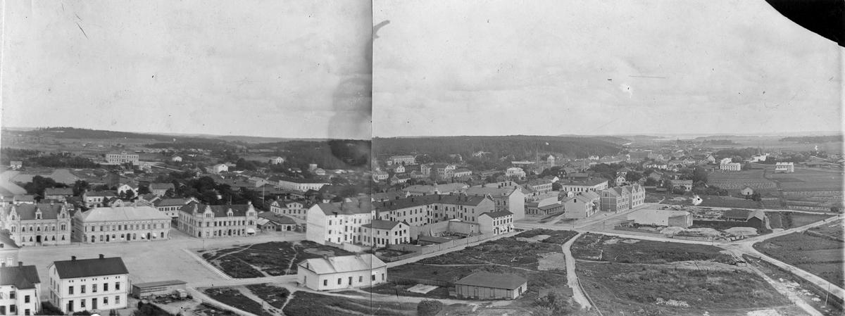 Köping från kyrkotornet efter branden 1889.