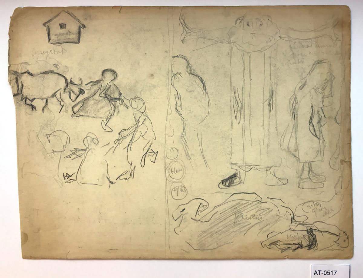 Tosidig skisse (ark frå skissebok). Side 1: To ulike skisser. Den til høgre: Presten (ant. Astrup sin far) som driv Adam og Eva ut av paradis. Side 2: Mange ulike overlappande skisser