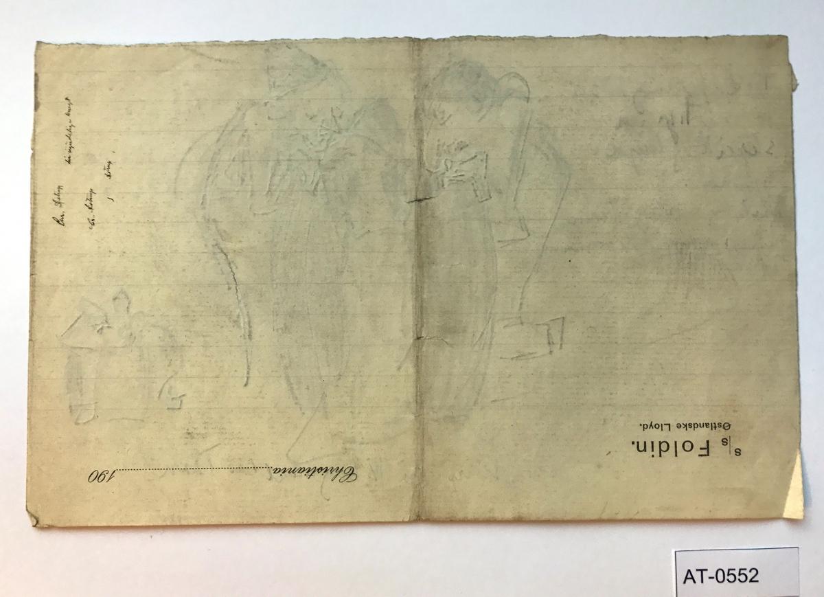 Einsidig skisse på linjert ark