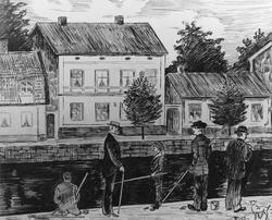 Tuschteckning signerad VM 13. Borgmästare Petres hus, polik