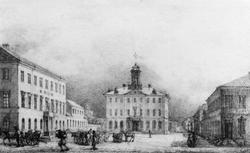 Ferdinand Tollins teckning av Gävle Rådhus och stortorg rita
