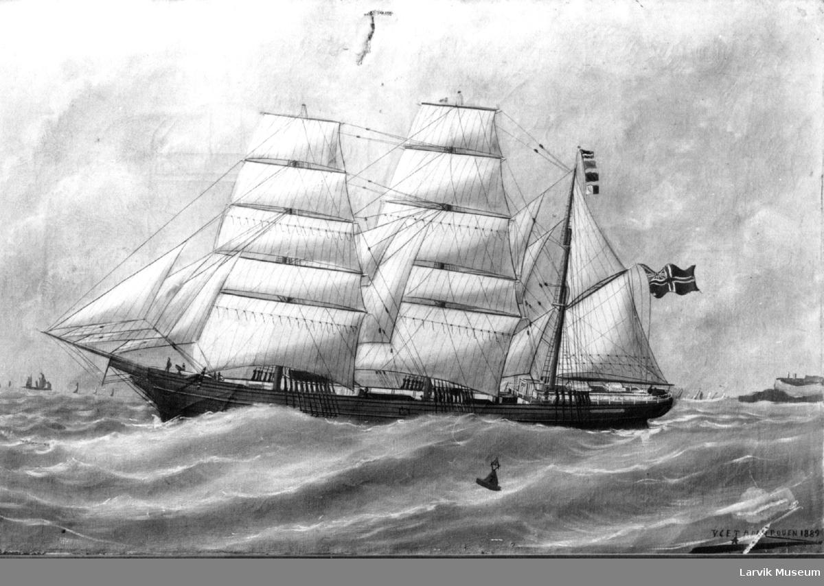 """Norsk bark - muligens """"Condor"""" - antagelig utenfor kysten av Le Havre (?)"""