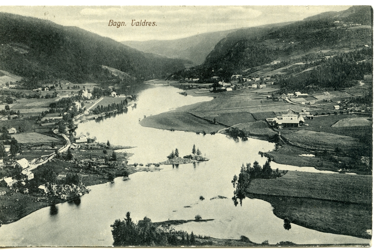 2 postkort som viser utsikt over Bagn, Sør-Aurdal.