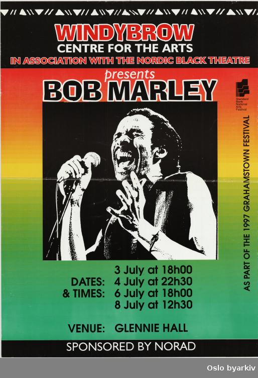 Plakat for forestillingen Bob Marley...Oslo byarkiv har ikke rettigheter til denne plakaten. Ved bruk/bestilling ta kontakt med Nordic Black Theatre (post@nordicblacktheatre.no)