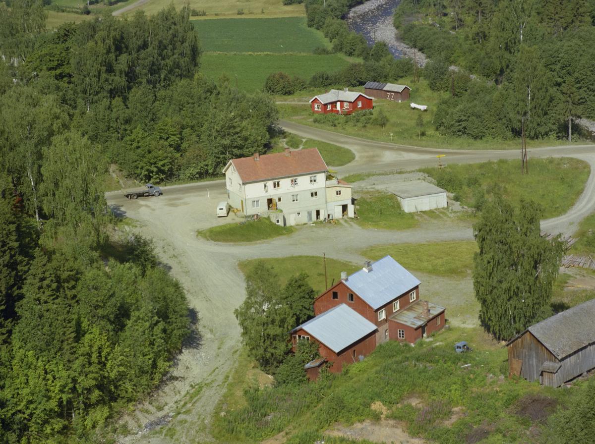 Vingrom, Posthuset, elva Rinna  øverst til høyre i bildet, bygninger, kulturlandskap