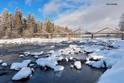 Vinterstemning ved Klokkerfossen i Glomma i Elverum i februa