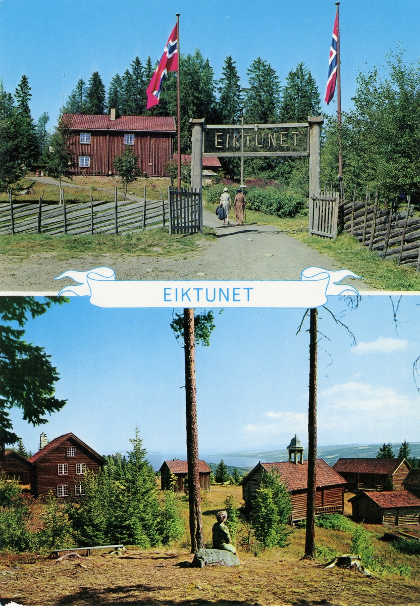 Postkort med motiv fra Eiktunet på Gjøvik.