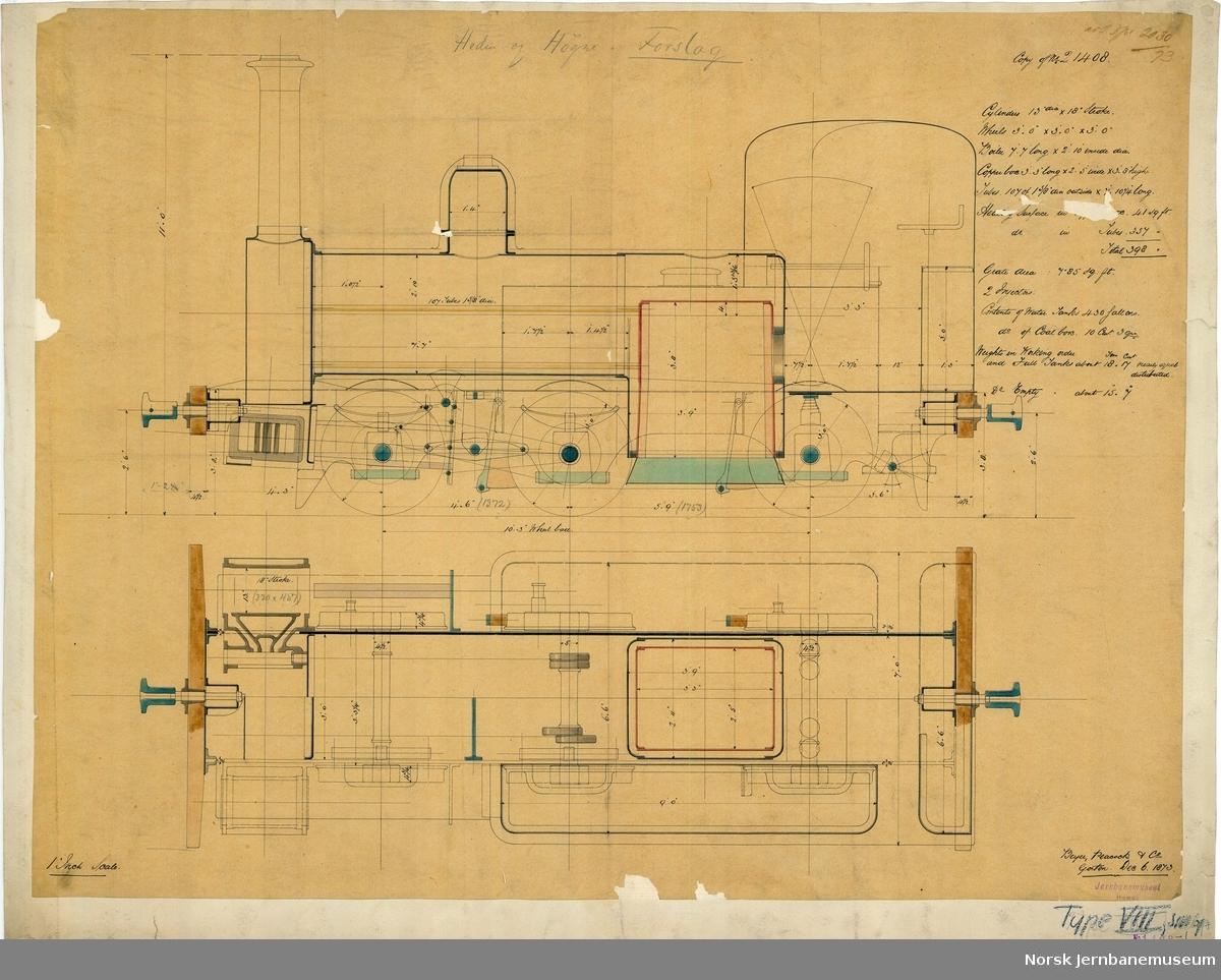 NSB damplok type VIII, smalt spor Kopi av Beyer, Peacocks tegning 21048, forslag?