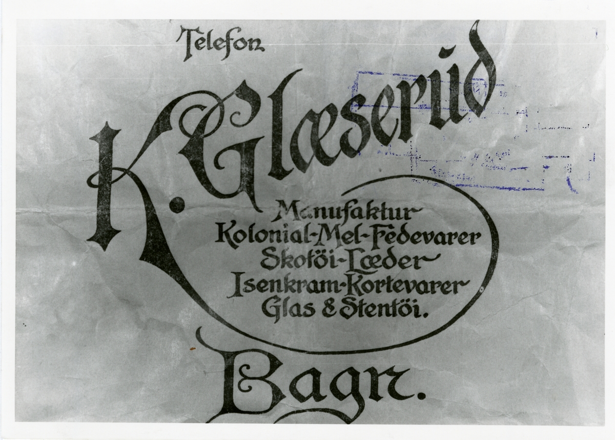 Kasper og Anna Glæserud saman med Ivar Kirkeberg. Bilde nr er er reklame for K. Glæserud.