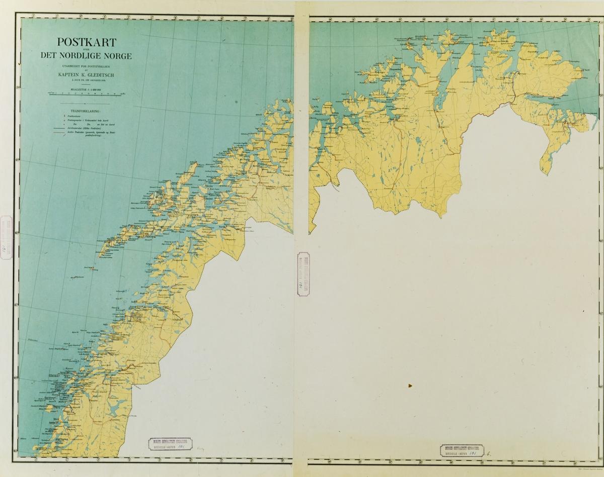 kart, postkart over det nordlige Norge à jour pr. 1ste oktober 1914 i 1:1000000