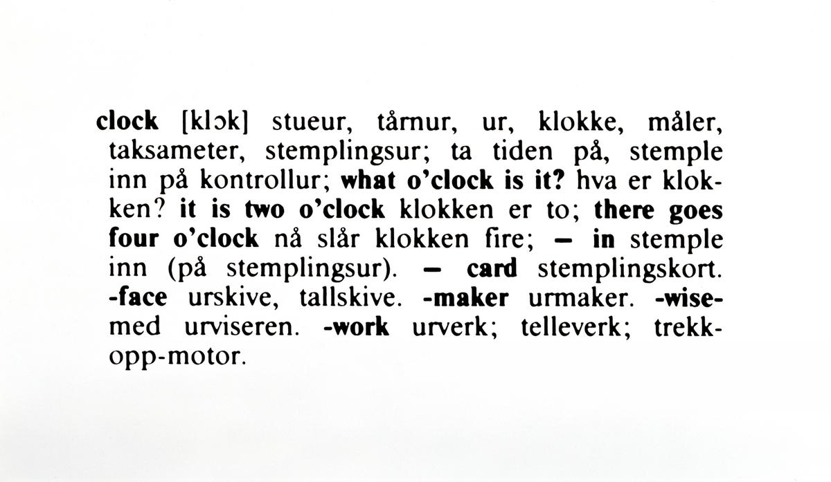 Klokke (en og fem) [engelsk - norsk] [Installasjon]