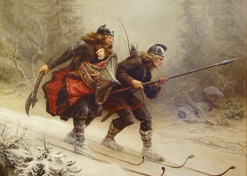 Bildet viser Knut Bergsliens maleri «Birkebeinerne» (1869) hvor birkebeinerne Torstein Skevla og Skjervald Skrukka flykter fra baglerne med vesle Håkon Håkonsson, kong Sverres sønnesønn og kongssønn, til birkebeinernes «hovedstad» Nidaros i 1206.