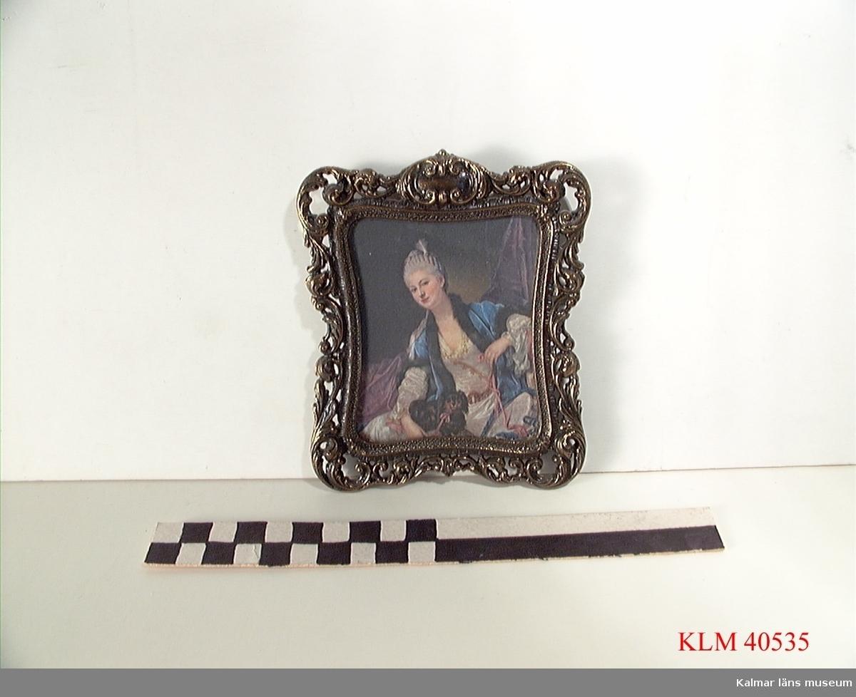 KLM 40535 Tavla, textiltryck inom glas och ram av metall. 1700-talsdam med liten hund i rosa band. På ramen står Brevettato.