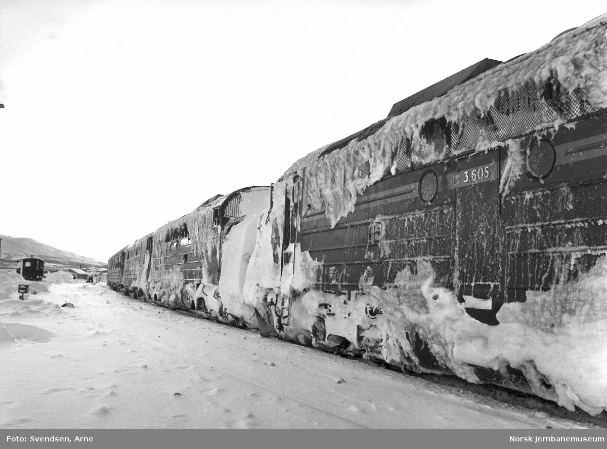 To nedsnødde og -isede diesellokomotiver type Di 3 foran nordgående nattog på Lønsdal stasjon