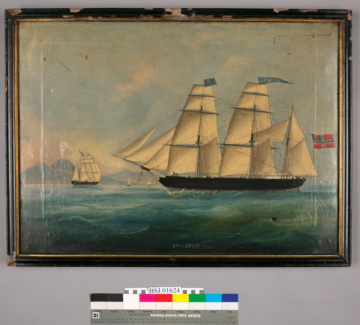 Skipsportrett av bark HERKULES, trolig utenfor Napoli med vulkanen Vesuv i bakgrunn. Unionsflagget (sildesalaten) akter. Signalflagg W101