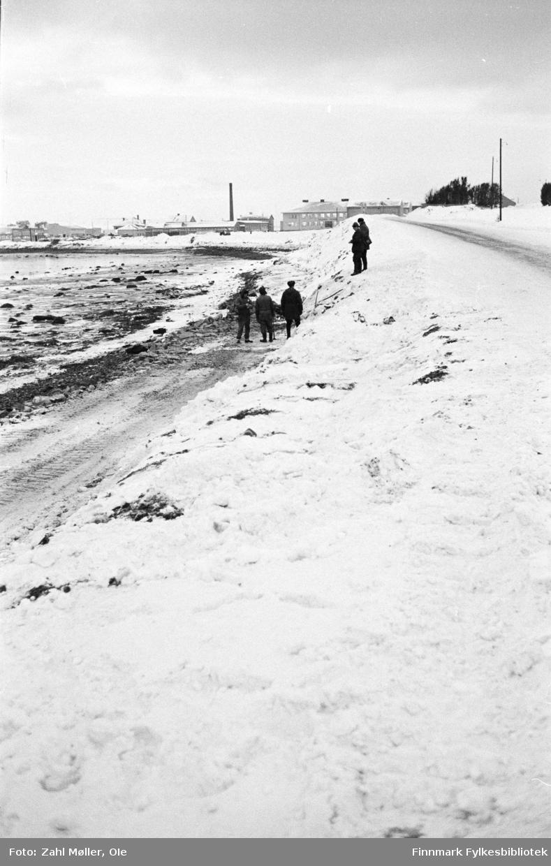 Serie bilder fotografert i Vadsø 1968-69.Anleggsarbeid langs en veistrekning i Vadsø.