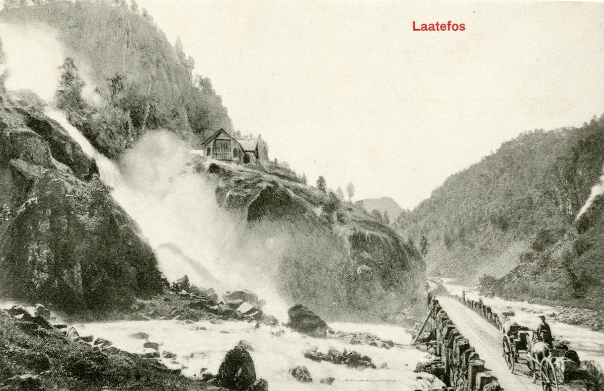 Postkort. Låtefossen, Odda i Hardanger.